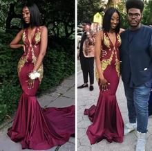 Arabic Burgundy Elastic Satin Sexy Deep V Neck Mermaid Prom Dresses Sleeveless Gold Lace Appliques Evening Gowns Formal Party