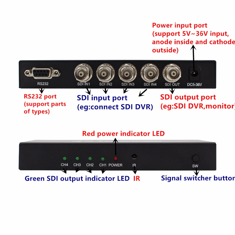 SDI Switch 3G HD SDI 4x1 Switcher with BNC Female Support 1080P Distribution Extender for Projector Monitor Camera Free Shipping in Computer Cables Connectors from Computer Office