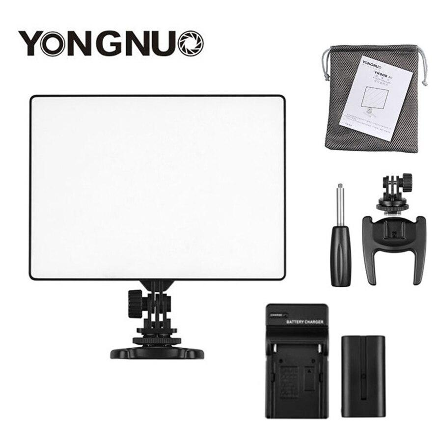 YONGNUO YN-300 YN300 Air caméra LED panneau lumineux vidéo sur l'appareil photo 3200 K-5500 K avec chargeur de batterie pour Canon Nikon Live Stream