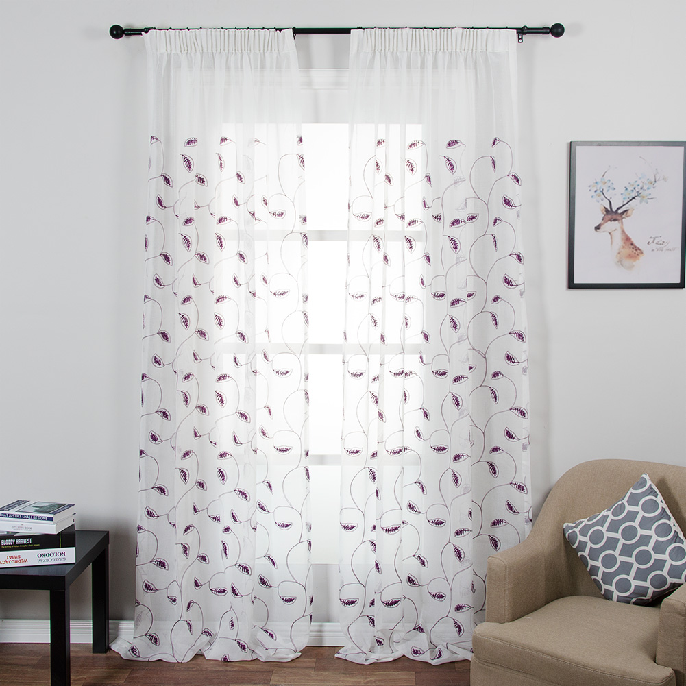 Sheer curtains with patterns - Topfinel Leaves Pattern White Sheer Curtains Window Tulle Curtains For Living Room Bedroom Tulle For Kitchen