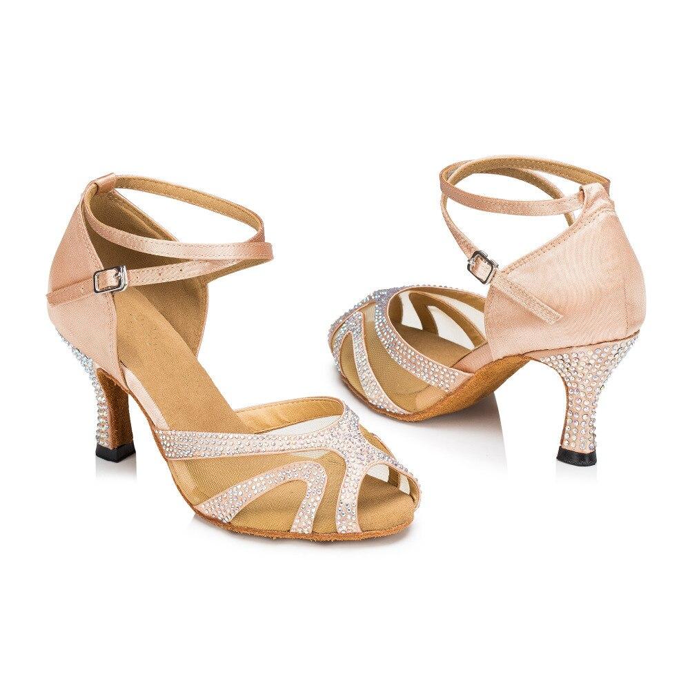 New Flesh <font><b>Nude</b></font> Satin Crystal Rhinestone Weddidng Salsa Tango Ballroom Dance Shoes Latin Dance Shoes Dancing Shoes ALL Size