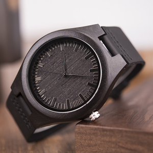 Image 5 - ボボ鳥 WD26 メンズデザインブランドの高級黒木製腕時計本革クォーツ時計男性ナチュラル黒檀ドロップ無料