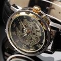 Novo 2016 moda sewor skeleton homens mão mecânica do vento relógio de pulso de couro relógio militar negócios vestido relógio do esporte de luxo presente