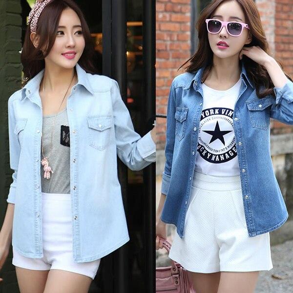 997506aeacd Design S-2XL 2015 New Fashion Plus Size Womens Denim Shirt Tops Long Sleeve  Women Jeans Shirts Vintage Cotton Light Dark Blue