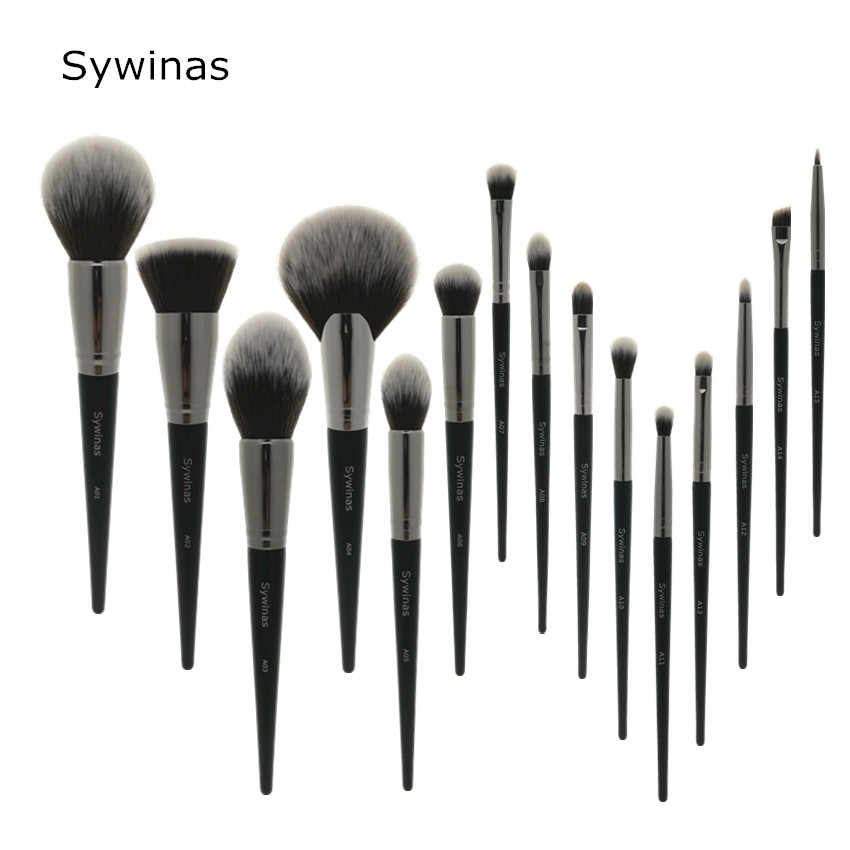 Sywinas makeup brush set 15pcs high quality black Natural synthetic hair make up brush tools kit professional makeup brushes.