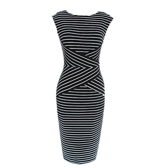 176c4a2f3a292 Women Summer Black White Striped Print Sleeveless Wear To Work Casual Party  Pencil Bodycon Dress Casual Female Slim Dresses