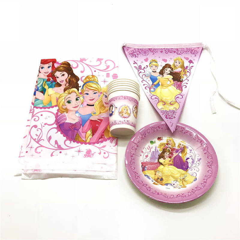 Disposable Party Tableware Festive & Party Supplies 37pcs/lot Disney Six Princess Theme Kids Birthday Party Decoration Baby Shower Paper Cartoon Cup Plate Banner Tablecloth Supply Beautiful And Charming