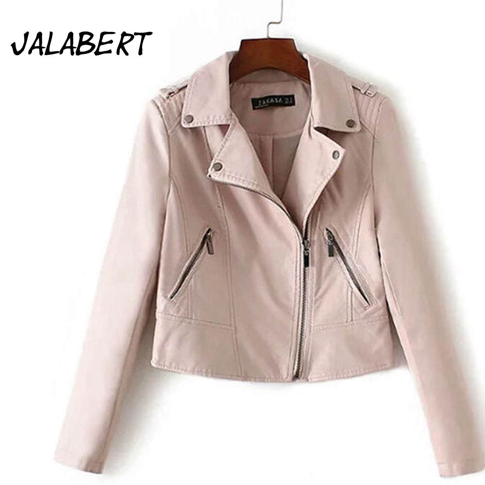 Womens pink leather motorcycle gloves - Jalabert 2017 Spring New Motorcycle Jacket Pu Pink Leather Women Short Sundere Leather Jacket Small Jacket