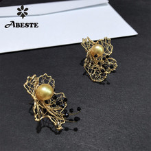 лучшая цена ANI 14K Roll Gold Women Stud Earring Natural South Pacific Gold Pearl oorbellen Roll Gold boucle d oreille Handmade Fine Jewelry