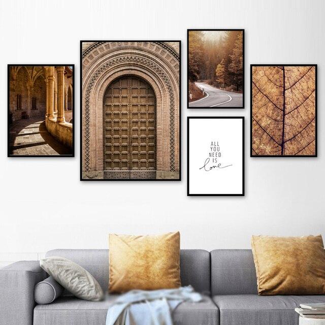 المغرب باب الغابات الطريق يترك المشهد الرسم على لوحات القماش الجدارية الشمال الملصقات و يطبع جدار صور لغرفة المعيشة ديكور