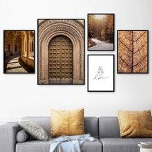 Fas Kapı Orman Yol Yaprakları Manzara duvar sanatı tuval yağlıboya İskandinav Posterler Ve Baskılar Duvar Resimleri Için Oturma Odası Dekor