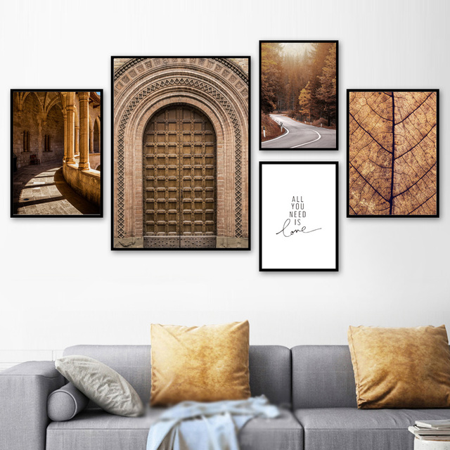 Morocco Door Forest Road Leaves Landscape Wall Art Canvas Painting Nordic Posters And Prints Wall Pictures For Living Room Decor