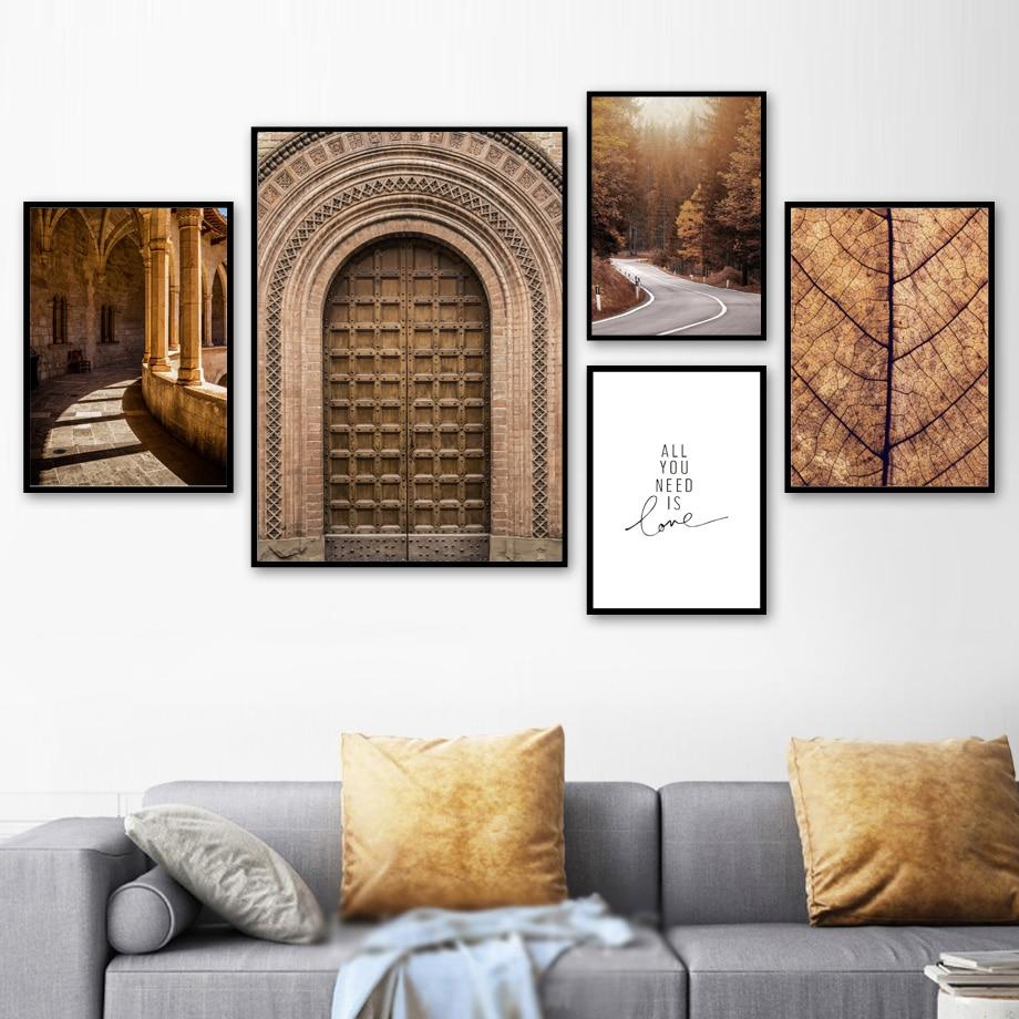 Morocco дверь лес дорога листья Настенная картина с ландшафтом холст живопись плакаты на скандинавскую тему и принты настенные картины для декора гостиной-in Рисование и каллиграфия from Дом и животные