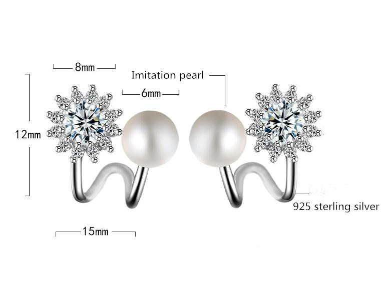 100 925 sterling silver fashion shiny cz zircon snow pearl flower ladies stud earrings female jewelry wholesale gift cheap in Stud Earrings from Jewelry Accessories