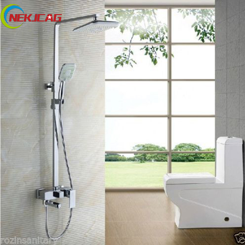 Chrome Swivel Tub Spout Bath Shower Faucet Set 8 Rainfall Shower Mixer Taps with Handheld Shower Wall Mounted Square Style chrome bathroom thermostatic mixer shower faucet set dual handles wall mount bath shower kit with 8 rainfall showerhead