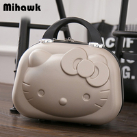 Mihawk Cute Cosmetic Bags Portable Travel Suitcase Cartoon Kitty Women Handbag Lovely Makeup Toiletries Case Beauty Pouch Supply