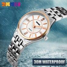 SKMEI moda zegarki kwarcowe kobiety na co dzień sukienka ze stali nierdzewnej różowe złoto zegarek dla pań 30M wodoodporny proste zegarki na rękę 1133