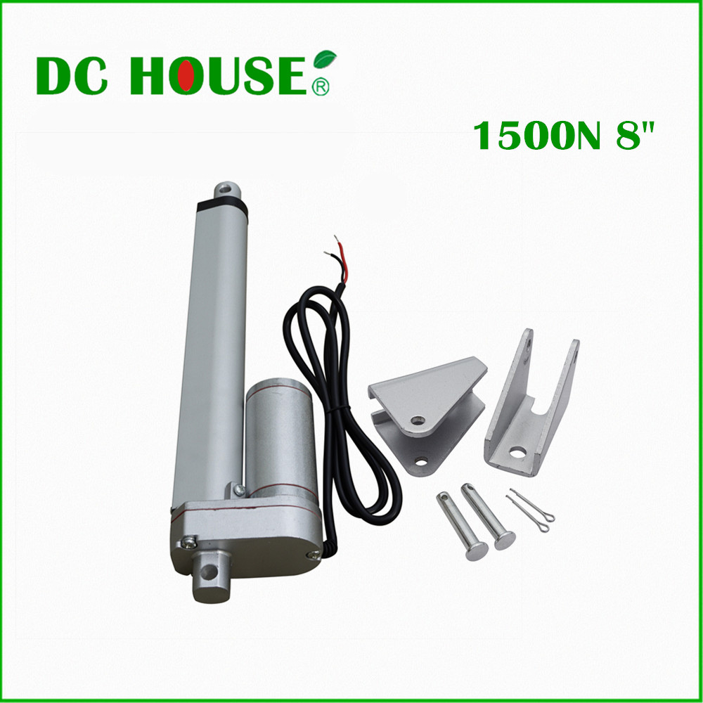 200mm/8inch Stroke With two tripods DC 12V 1500N/330lbs Load multi-function 8 Electric Motor linear actuator free shipping 200mm 8inch stroke heavy duty dc12v 900n load linear actuator multi function 10 motor with bracket