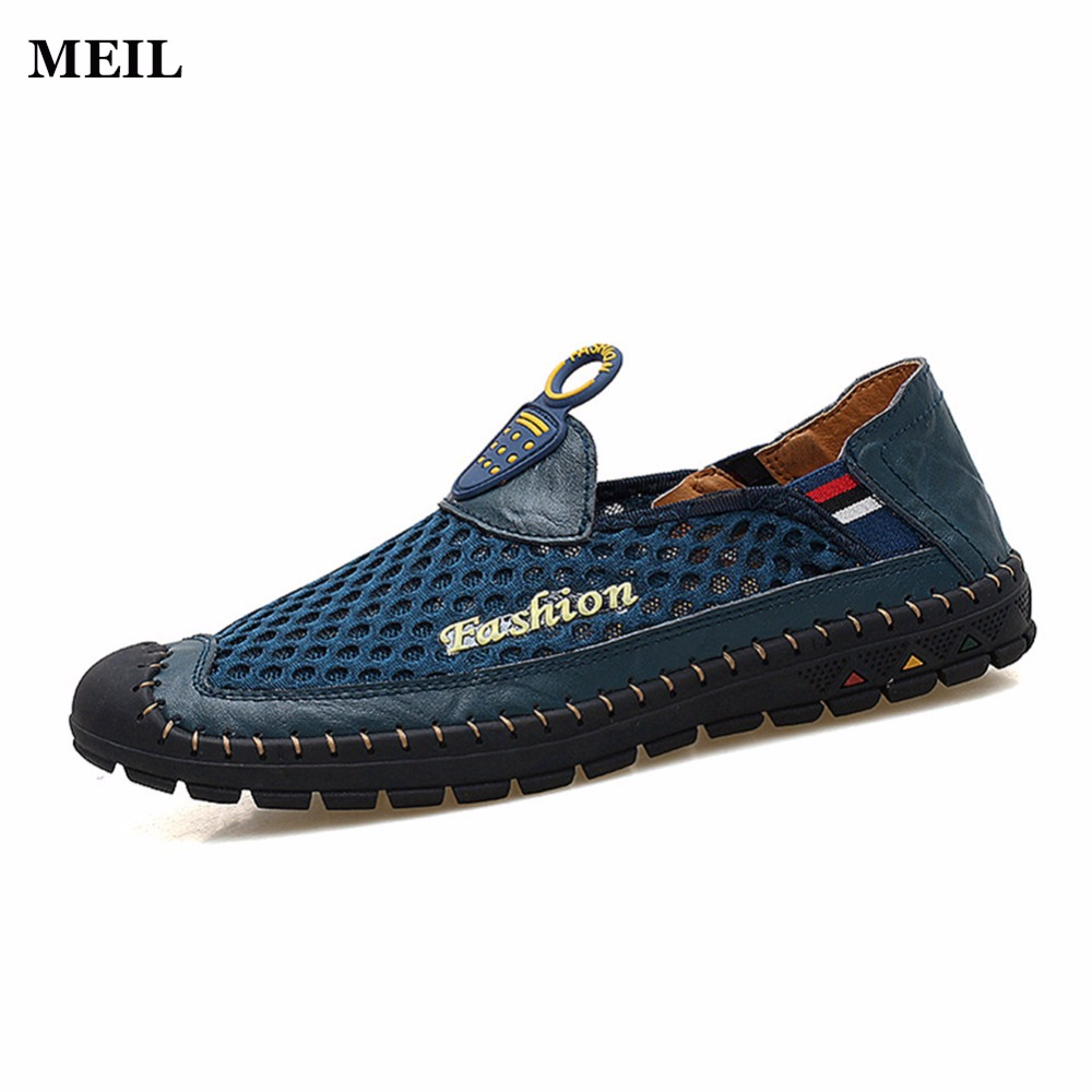 Breathable Mesh Shoes Mens Casual Shoes Genuine Leather Slip On Brand Fashion Shoes Man Soft Comfortable