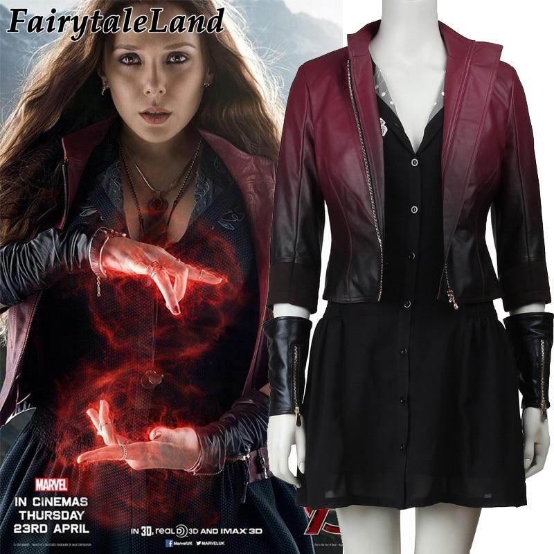 Avengers Age of Ultron Wanda Maximoff Scarlet Scarlet Witch Cosplay Halloween Traje Adulto Avengers superhero traje Da Bruxa