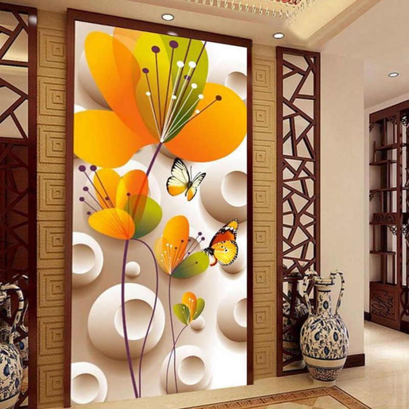 Personalizado Estilo Dos Desenhos Animados de Parede Mural Photo Wallpaper 3D Stereoscopic Flores E Borboleta Para Crianças sala de estar Sofá Pano de Fundo Decoração de Casa