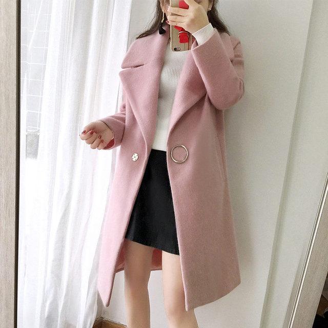 2018 White Wool Blend Coat Women Lapel Long Parka Winter Jacket Cocoon Style Elegant Woolen Coat Thicken Female Outerwear C3745 1