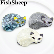 FishSheep Large Fox Cat Acrylic Brooch For Women Fashion Cartoon Plastic Animal Pins And Brooches Badges Female Shirt Jewelry