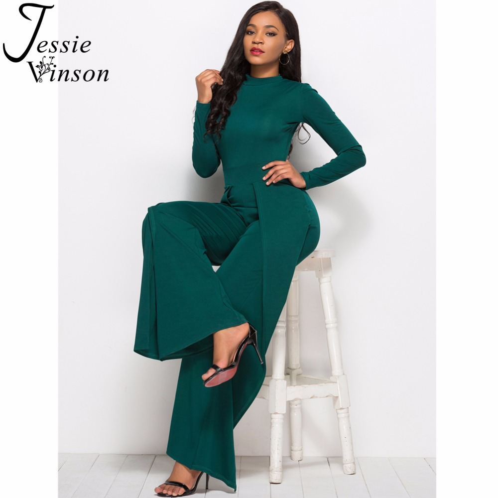 c784f1fbcdac Jessie Vinson Women Overalls Long Pants Long Sleeve Turtleneck Wide Leg  Jumpsuit Female Rompers Jumpsuits 2018-in Jumpsuits from Women s Clothing  on ...