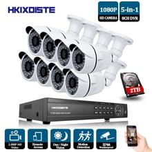 hKIXDISTE HD 8CH 1080P CCTV System HDMI AHD DVR 8PCS 2.0MP IR Outdoor Night Vision Security Camera Video Surveillance Kit 2TB