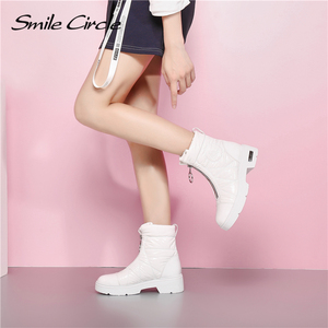 Image 5 - 2019 Winter boots Women Snow Boots Warm down shoes easy wear girl white Black zip Flat platform shoes Chunky Boots Smile Circle