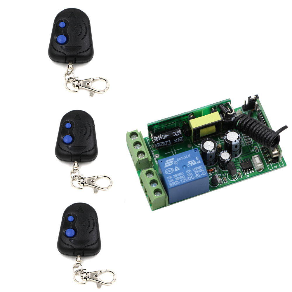 New Style Wide Voltage AC85-250V 1CH Wireless Remote Control Switch &Two Key Wireless Remote Controller Set 315Mhz 433Mhz wide voltage ac85 110v 120v 220v 250v 1ch wireless remote control switch receiver and 4pcs remote controller with two key