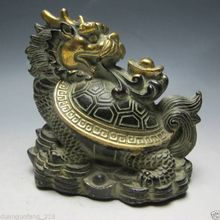collections Chinese animal Bronze Hand Work Statue - Dragon Turtle send ingot