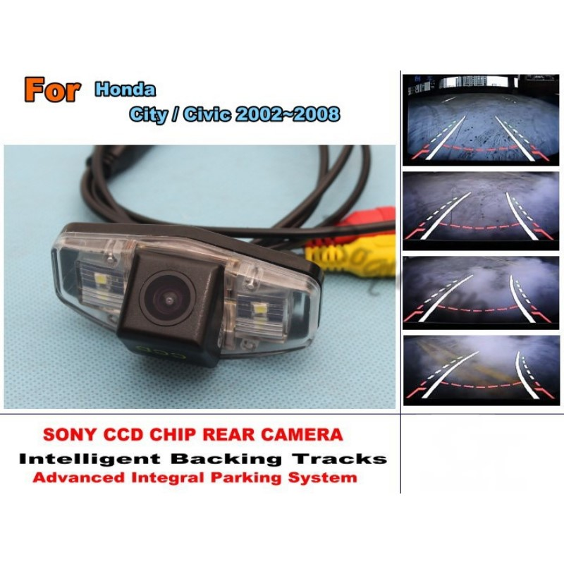 For Honda City 2002~2008 / For Honda Civic 2001~2014 Smart Tracks Chip Camera HD CCD Intelligent Dynamic Rear View Camera for renault duster 2010 2014 smart tracks chip camera hd ccd intelligent dynamic parking car rear view camera