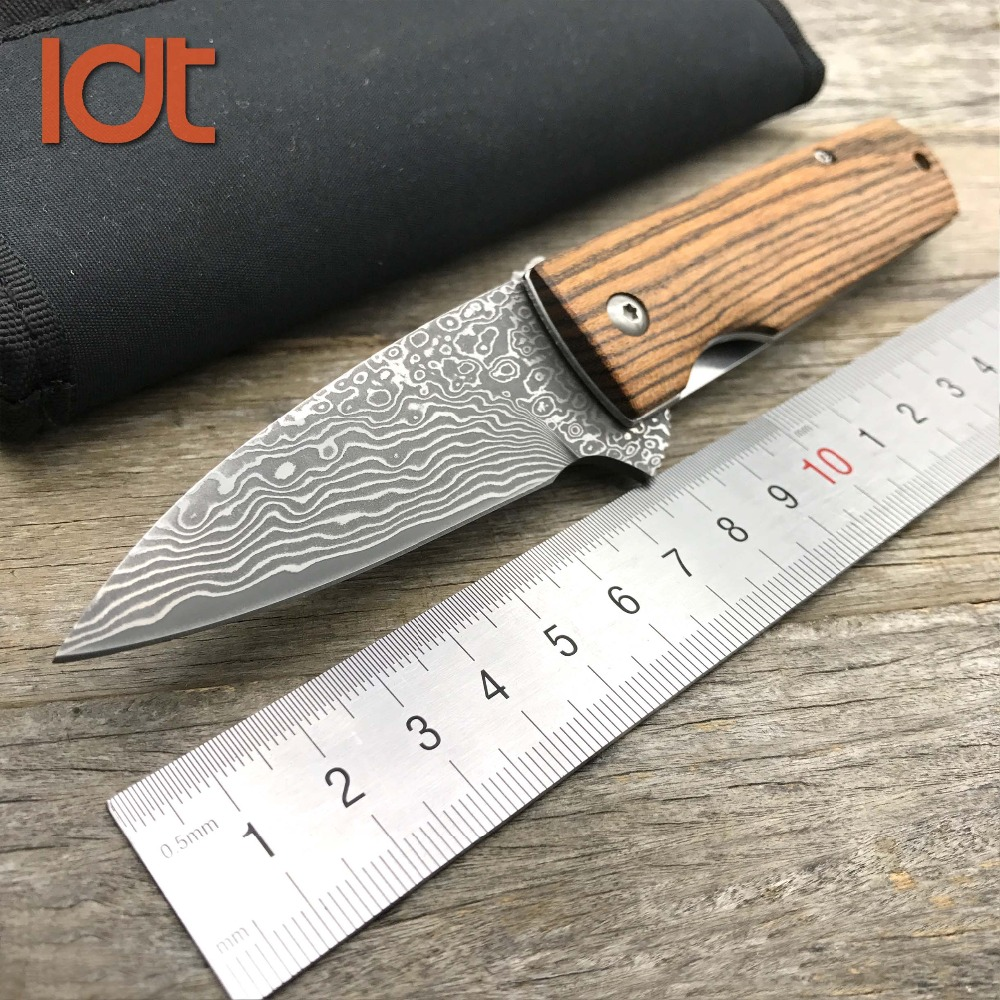 цена на LDT Moscow Damascus Blade Folding Knife Rose Wood Handle Knives Hunting Survival Pocket Outdoor Tactical Camping Knife EDC Tools