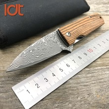 LDT Moscow Damascus Blade Folding Knife Rose Wood Handle Knives Hunting Survival Pocket Outdoor Tactical Camping Knife EDC Tools