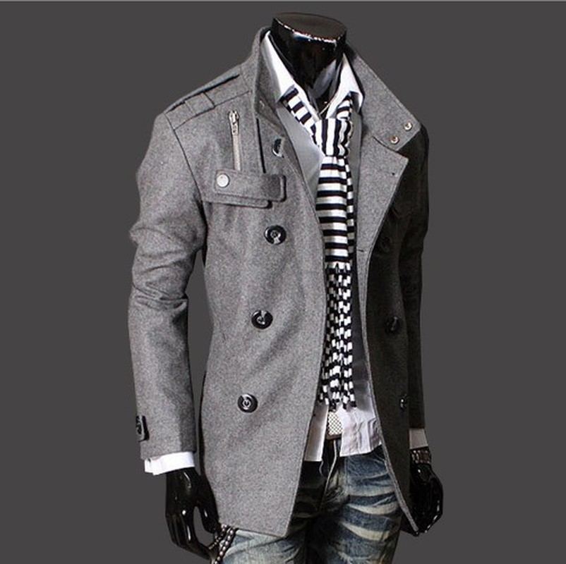 AOWOFS brand 2018 new men's fashion personality windbreaker double breasted long men's fashion business jacket
