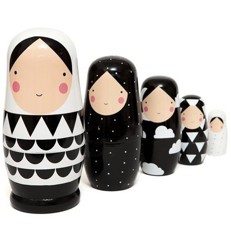 5pcs Set Russian Nesting Dolls Wooden Matryoshka Doll Handmade Painted Stacking Dolls Collectible Craft Toy 5