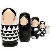 """5pcs Set Russian Nesting Dolls Wooden Matryoshka Doll Handmade Painted Stacking Dolls Collectible Craft Toy 5"""" Tall 5.5*12.5cm"""