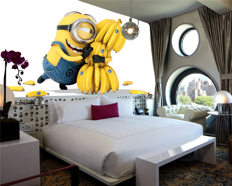 Cute Minions & Bananas Wallpaper Cartoon Movie Wall Mural Customize photo  wallpaper Room decor Kid Bedroom TV wall Despicable Me-in Wallpapers from  Home ... - Cute Minions & Bananas Wallpaper Cartoon Movie Wall Mural