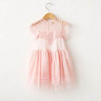 pinkgraywhite Flower Girls Princess lace Dress Toddler Baby Wedding Party Tulle Dress 2-7y toddler girls clothing free people trapeze dress