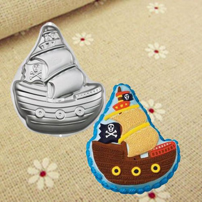 Birthday cake decorating Pirate ship the Caribbean Aluminum bakeware festival cake design cake stencils cake pans free shipping
