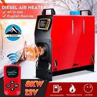Destacável 8kw 12 v aquecedor portátil tudo em um aquecedor de estacionamento ar combustível + interruptor lcd dourado + controle remoto enhlish para ônibus caminhão barco van