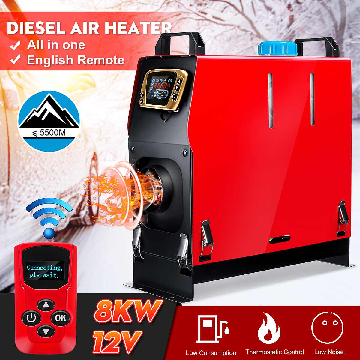 Detachable 8KW 12V Portable Heater All In One Fuel Air Parking Warmer + Golden LCD Switch+Enhlish Remote For Bus Truck Boat Van