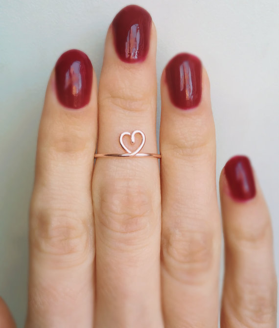 PINJEAS Midi Heart Ring midi knuckle Weeding Love Cute Handmade Adjustable rings minimal ...