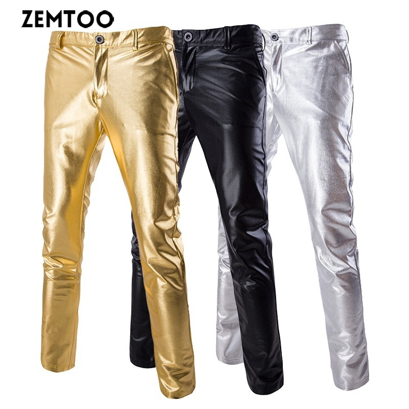 New Men's Tights Gold, Silver And Black Tri-color Casual Pants Coated Pants