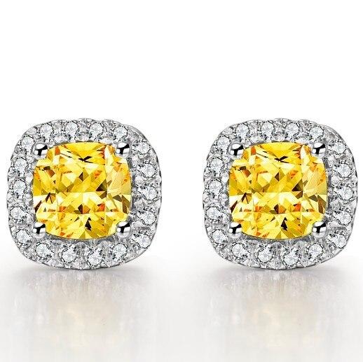 Gold Earrings Diamond Stud Jewelry White Solid Genuine SONA 18K 1CT Brand Women for Cushion