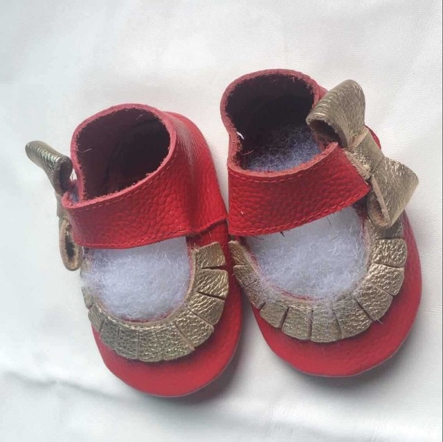 2016 new Genuine leather side bow baby girl moccasins Princess shoes Toddler Soft Sole Mary Jane kid Shoes