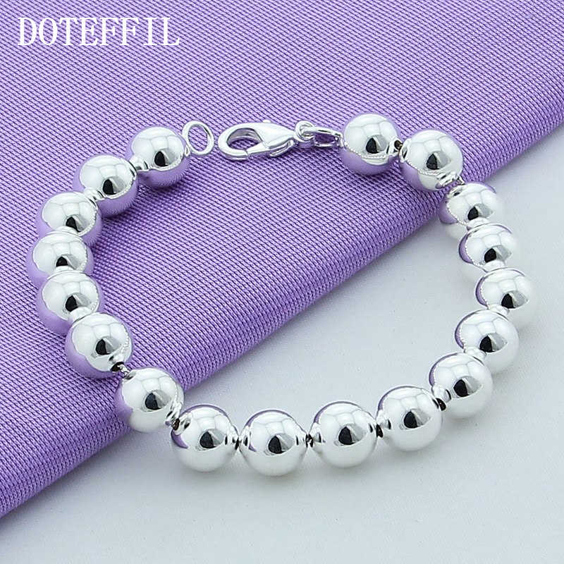 Hot Style 925 Silver Color Jewelry 8mm And 10mm Hollow Silver Beads Plated Silver Bracelet High Quality Jewelry Woman