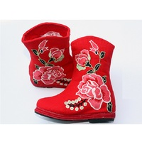 2018 Newest Baby Girls Boots Embroidered Rose Red Green Children Boot Chinese Traditional Festival Cotton Handmade Shoe Fashion