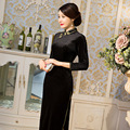 TIC-TEC women cheongsam long qipao fashion chinese traditional solid color oriental dresses velvet vintage evening clothes P3161